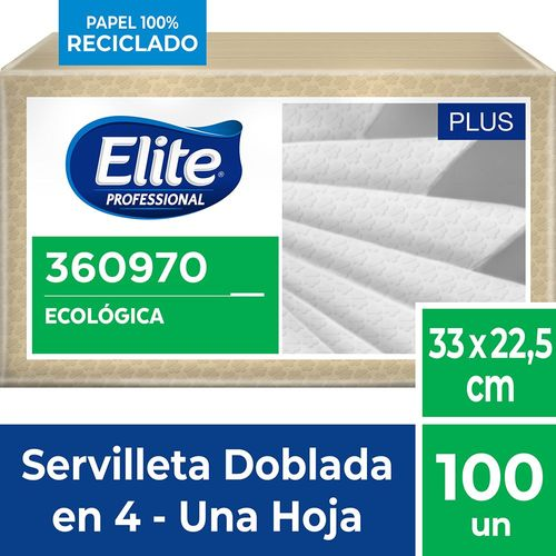 Servilleta Ecológica Plus Una Hoja 100 Un Elite Professional
