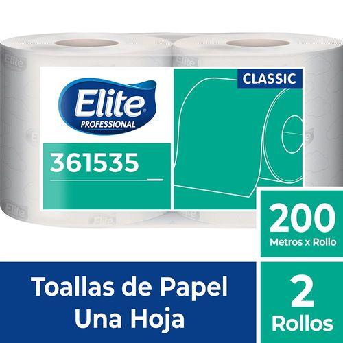 Toalla Rollo Classic Blanco Una Hoja 2 Un 200 M Elite Professional