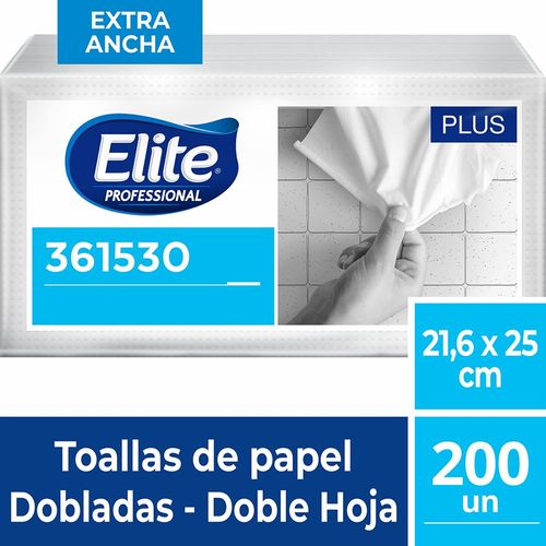 Toalla Interfoliada Plus Doble Hoja 200 Un XL Elite Professional