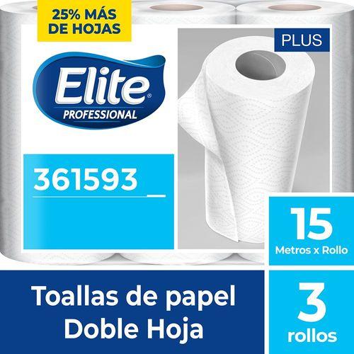 Toalla Rollo Plus Doble Hoja 3 Un 15 M Elite Professional